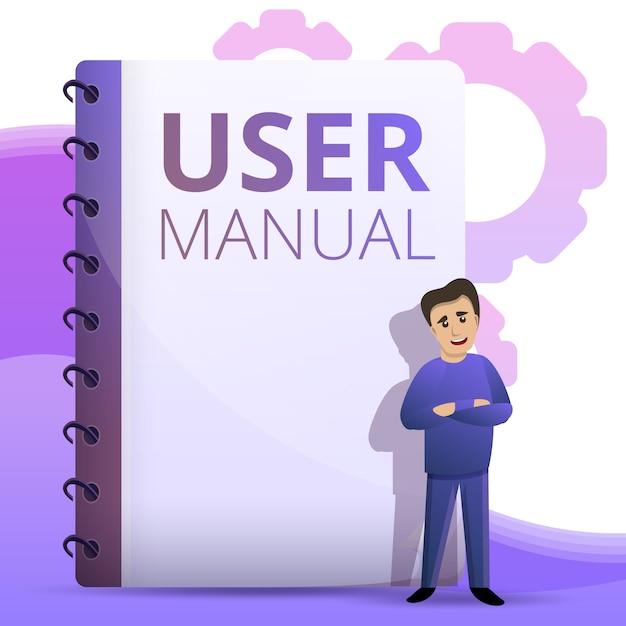 Guia do usuário ilustração do conceito, estilo dos desenhos animados Vetor Premium