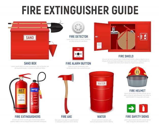 Guia realista de extintor de incêndio com legendas em texto editável e imagens isoladas de várias ilustrações de aparelhos de combate a incêndio Vetor grátis