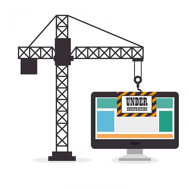 Guindaste mantém o site do computador em construção Vetor grátis