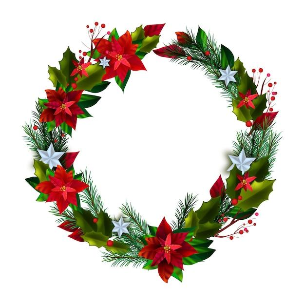 Guirlanda de férias de inverno natal com folhas vermelhas de poinsétia, galhos de pinheiro, estrelas, bagas Vetor Premium