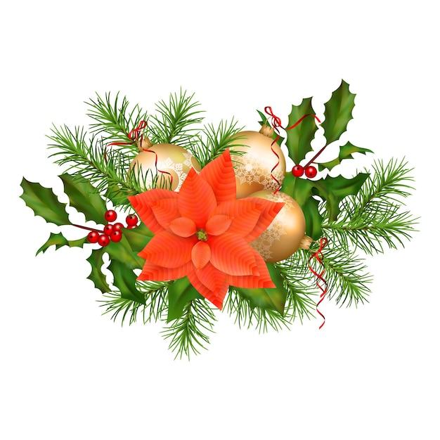 Guirlanda de natal com decorações Vetor Premium