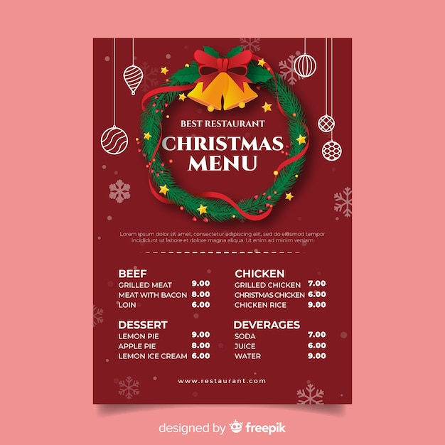 Guirlanda de natal com guizos modelo de menu Vetor grátis