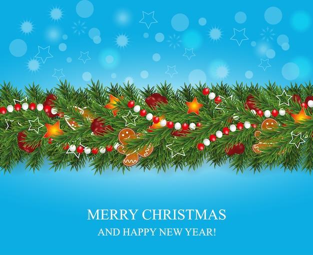 Guirlanda de natal e feliz ano novo e borda de galhos de árvores de natal de aparência realista decorados com bagas, estrelas e biscoitos de gengibre, grânulos. decoração do feriado em fundo azul. Vetor Premium