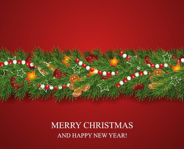 Guirlanda de natal e feliz ano novo e borda de galhos de árvores de natal de aparência realista decorados com bagas, estrelas e biscoitos de gengibre, grânulos. Vetor Premium