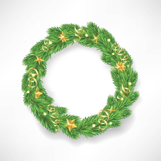 Guirlanda de natal feita de ramos de pinheiro de aparência realista, decorados com estrelas douradas. Vetor Premium