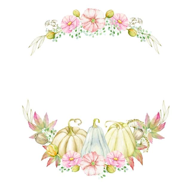Guirlanda de outono com abóboras, folhas, flores, ramos. modelo de forma redonda em aquarela para ação de graças, estilo boho. Vetor Premium