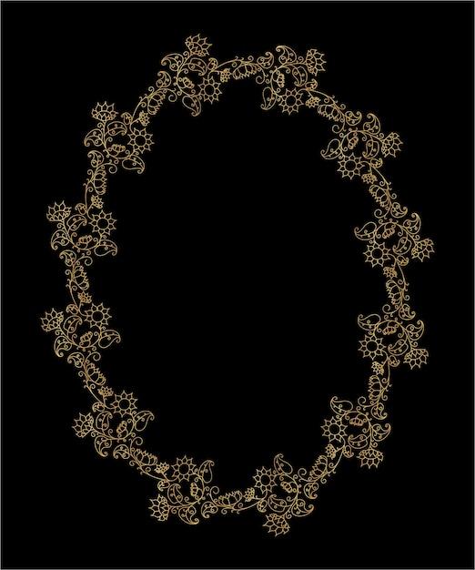 Guirlanda decorativa em ouro com motivos florais. moldura de ouro de verão com flores e folhas. ilustração isolada em vetor. Vetor Premium