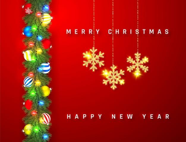 Guirlanda festiva de natal ou ano novo. galhos de árvore de natal. fundo do feriado. Vetor Premium