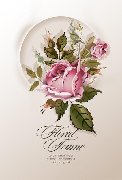 Guirlanda floral com flores vintage. Vetor Premium