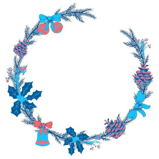 Guirlanda floral de natal Vetor Premium