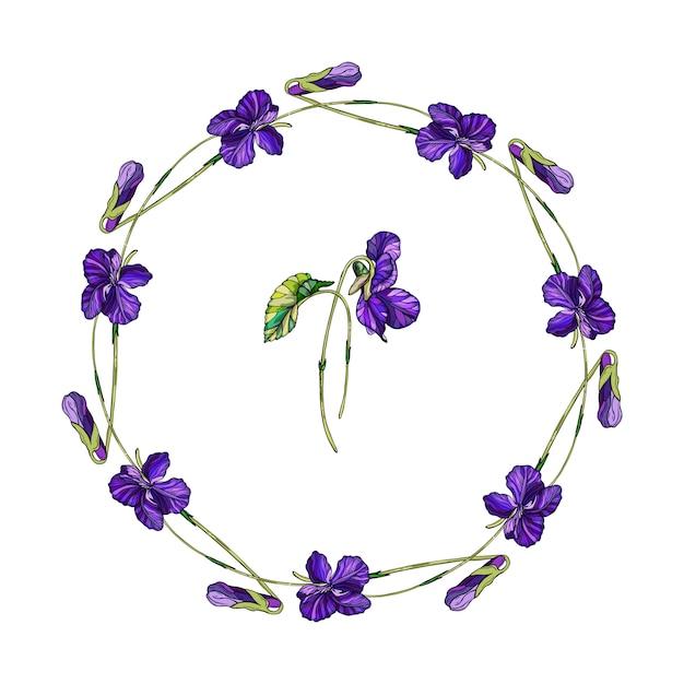 Guirlanda floral de vetor de flores violetas. Vetor Premium