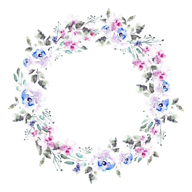 Guirlanda floral luxuriante em estilo aquarela Vetor grátis