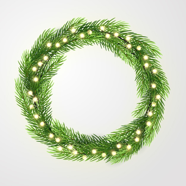 Guirlanda verde com luzes e galhos de árvores de natal. Vetor Premium
