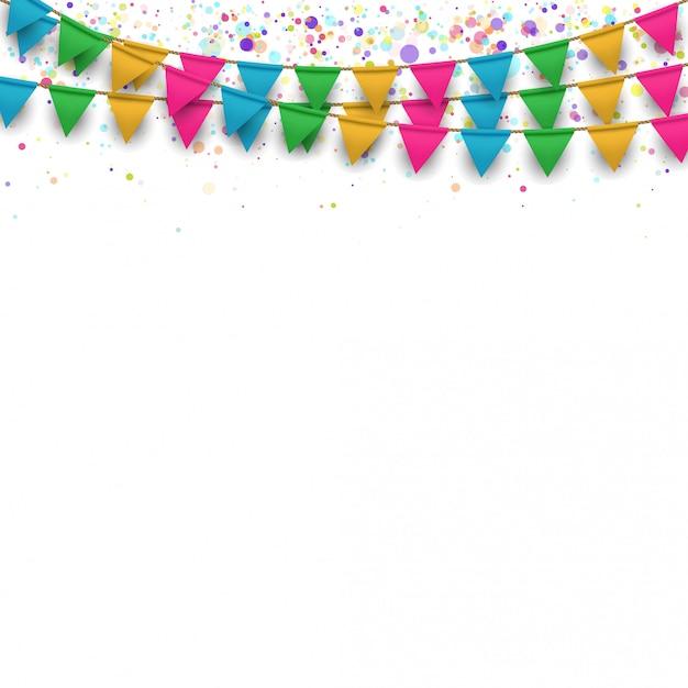 Guirlandas de bandeiras coloridas Vetor Premium