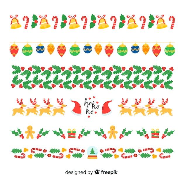 Guirlandas de elementos de natal Vetor grátis