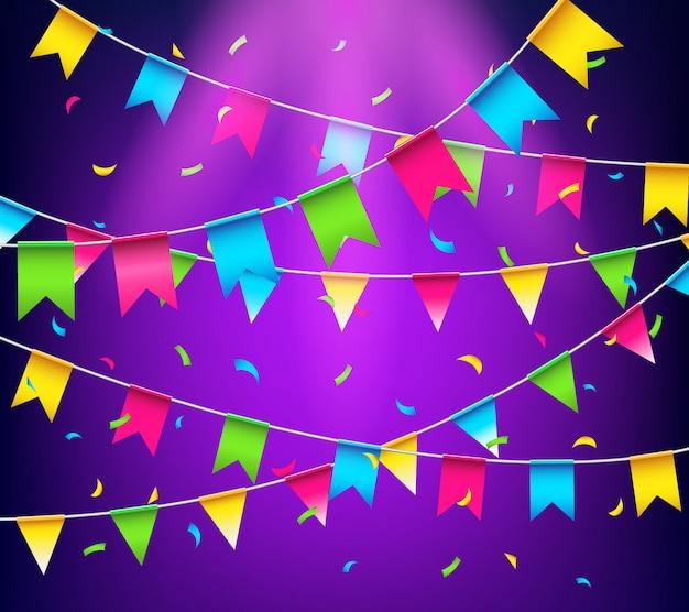 Guirlandas multicoloridas brilhantes buntings. bandeiras de festa com confetes Vetor Premium