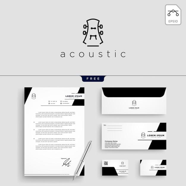 Guitar, music logo template vector illustration Vetor Premium