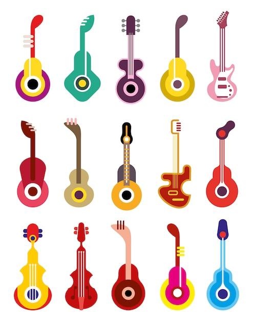 Guitarra - conjunto de ícones do vetor Vetor Premium