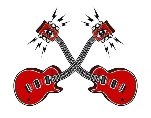 Guitarra elétrica com ilustração em vetor conceito psycedelic Vetor Premium