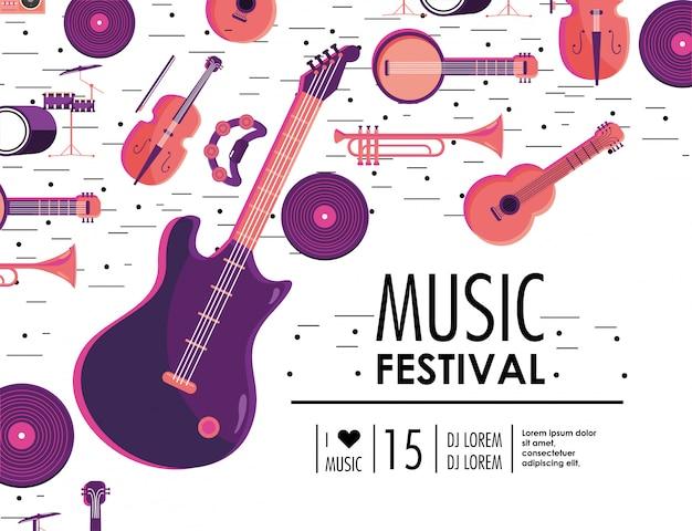 Guitarra elétrica e instrumentos para evento de festival de música Vetor Premium