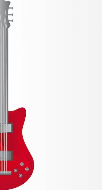 Guitarra elétrica vermelha sobre ilustração vetorial de fundo cinza Vetor Premium