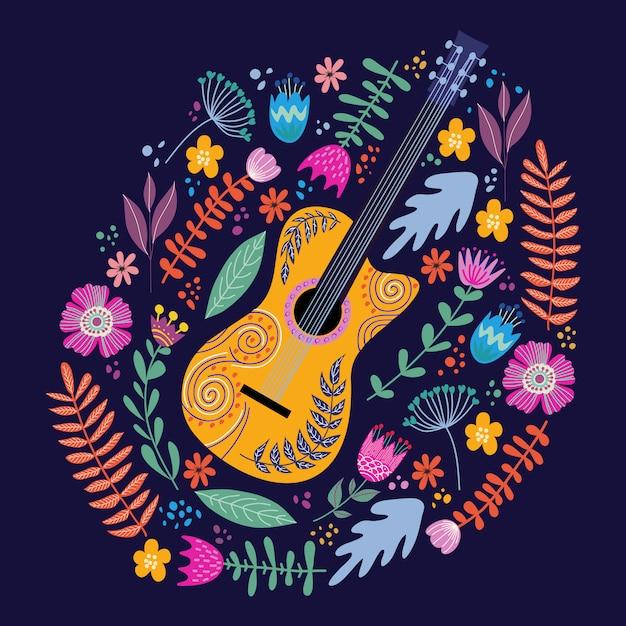 Guitarra isolada e folhas e flores tropicais brilhantes. mão desenho folk plana doodles vector Vetor Premium