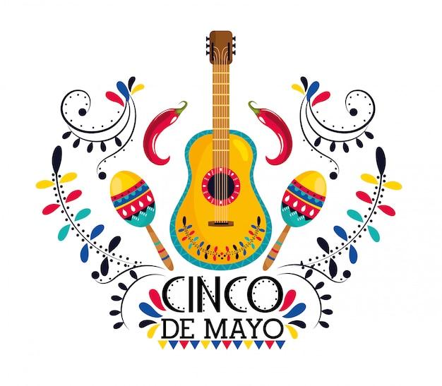 Guitarra mexicana com maracas e pimenta Vetor Premium