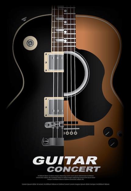 Guitarra poster poster background template ilustração vetor Vetor Premium