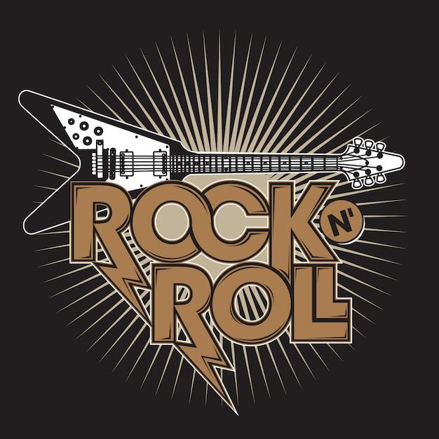 Guitarra rock n 'roll Vetor Premium