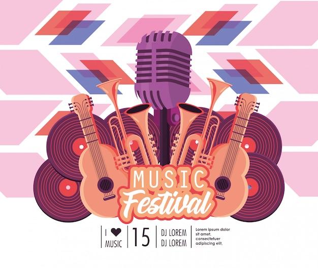 Guitarras acústicas com trombetas e microfone para festival de música Vetor Premium