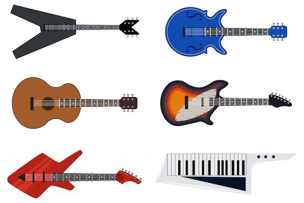 Guitarras clássicas acústicas e retro. os ícones lisos do vetor ajustaram-se dos instrumentos musicais isolados no fundo branco. Vetor Premium