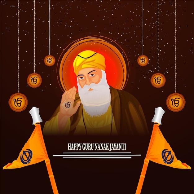 Guru nanak jayanti sikh primeiro guru da celebração do nascimento do guru nanak dev ji Vetor Premium