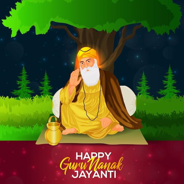 Guru nanak jayanti sikh primeiro guru guru nanak dev ji ilustração da celebração do nascimento Vetor Premium
