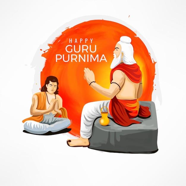 Guru purnima template Vetor Premium