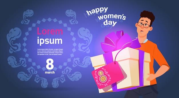 Guy hold presnt box para feliz dia internacional das mulheres 8 de março feriado cartã £ o sobre fundo template Vetor Premium