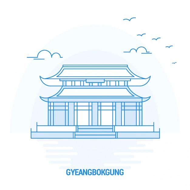Gyeangbokgung blue landmark Vetor Premium