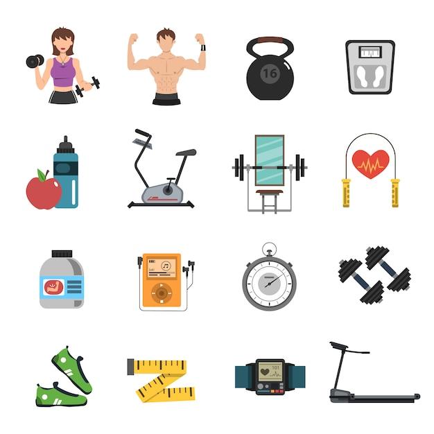 Gym icon flat set Vetor grátis