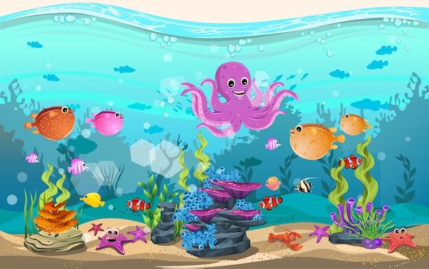 Habitats marinhos e a beleza dos recifes de corais Vetor Premium