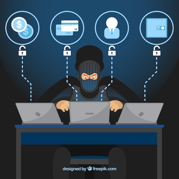 Hacker anônimo com design plano Vetor grátis