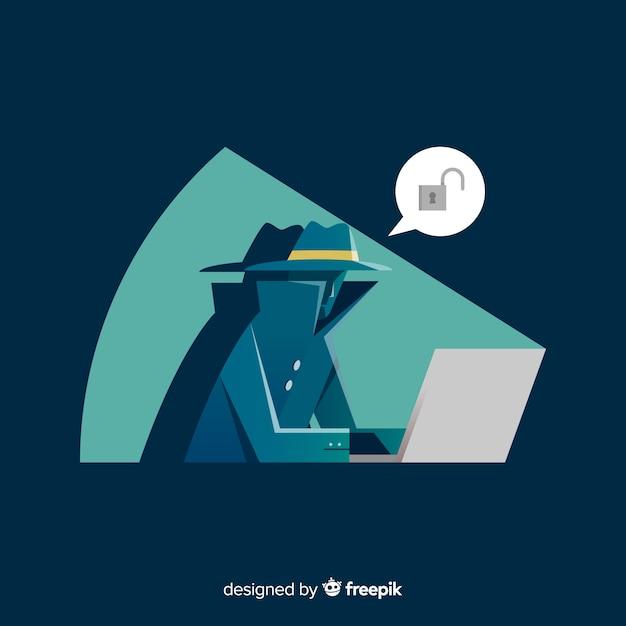 Hacker anônimo com design plano Vetor Premium