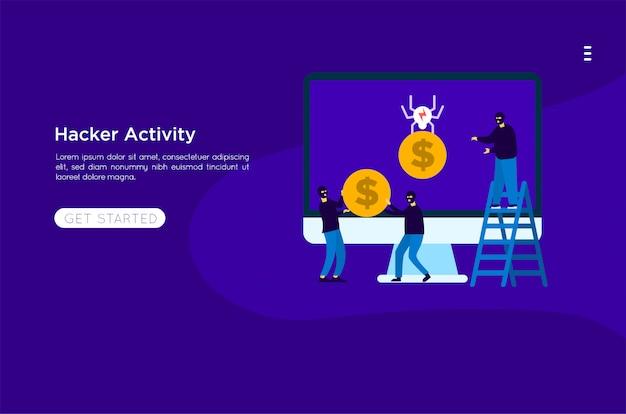 Hacker roubar ilustração Vetor Premium