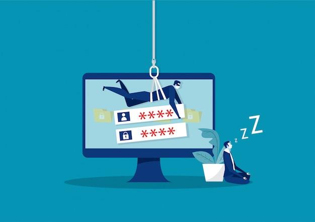 Hacker roubar informações de senha e dados no laptop. Vetor Premium