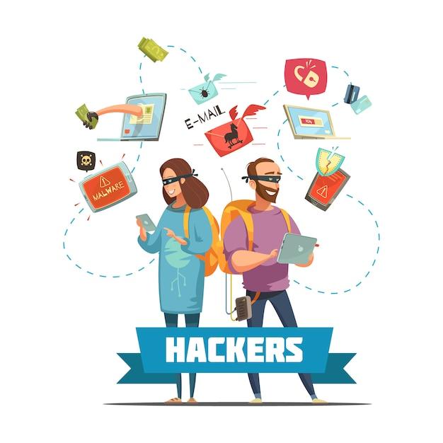 Hackers criminosos cibernéticos no trabalho roubando informações de senhas e acesso à conta bancária Vetor grátis