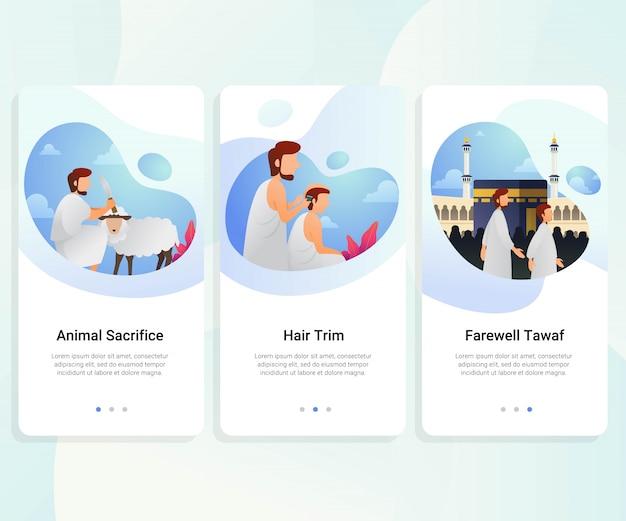 Hajj guide kit de interface do usuário passo a passo Vetor Premium