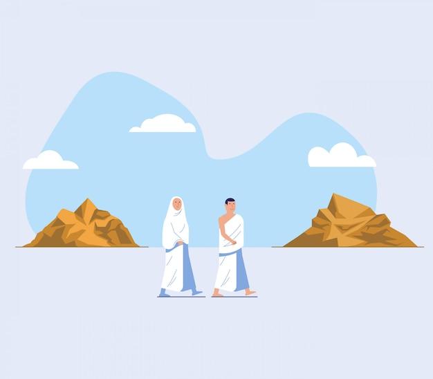 Hajj peregrinação a pé entre safaa e marwah hill Vetor Premium
