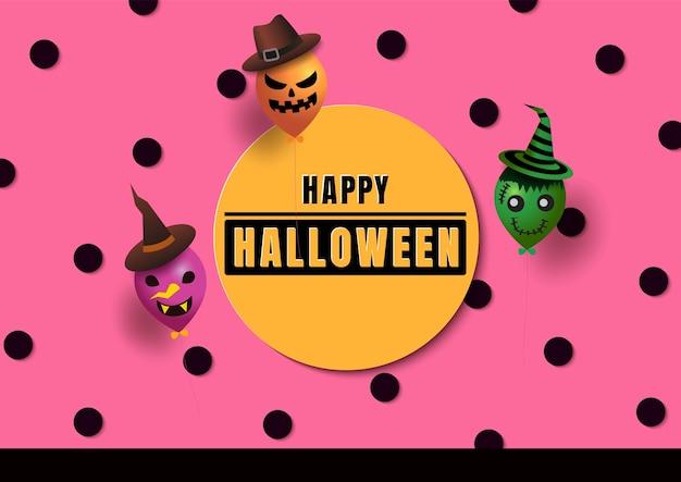 Halloween com monstros de balão em fundo rosa de bolinhas Vetor Premium