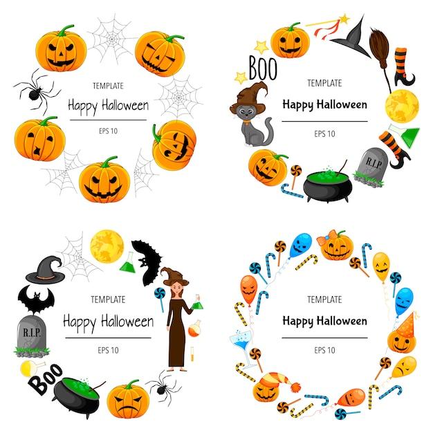 Halloween conjunto de quadros para o seu texto com atributos tradicionais. estilo dos desenhos animados. ilustração. Vetor Premium
