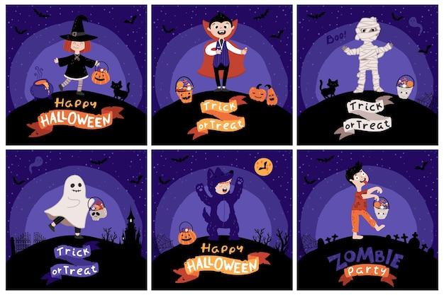 Halloween crianças costume party. conjunto de cartão. crianças com baldes de doces em várias fantasias para o feriado. fundo do céu noturno. ilustração infantil fofa em estilo cartoon desenhado à mão. letras. Vetor Premium