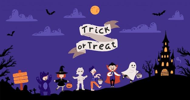 Halloween crianças costume party. crianças em vários trajes para o feriado. Vetor Premium