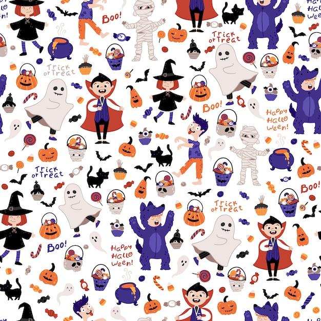 Halloween crianças fantasia festa padrão sem emenda. Vetor Premium